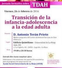 """Charla  """"El TDAH, en la transición de la infancia-adolescencia a la edad adulta"""""""